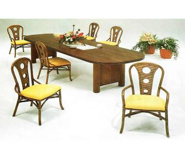 Cane Dining Table Set 6+1