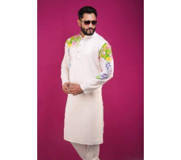 Semi Long Cotton Boisakhi Punjabi for Men