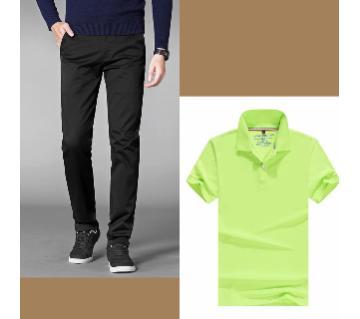 Gabardine Pant + Half Sleeve Cotton T shrit For Men Combo Offer