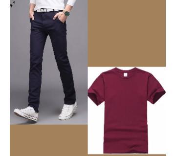 Gabardine Pant + Half Sleeve Cotton T Shirt For Men Combo Offer