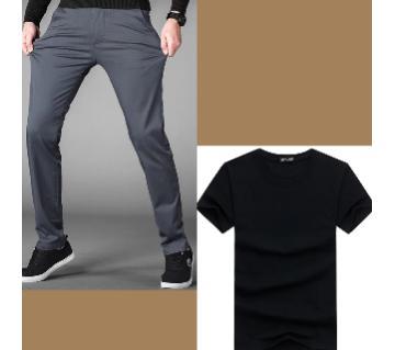 Gabardine Pant+ Half Sleeve Cotton T Shirt for Men Combo Offer
