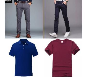 Combo Offer 2 Piece Gabardine Pant + 2 Pice Half Sleeve Cotton T Shirt For Men
