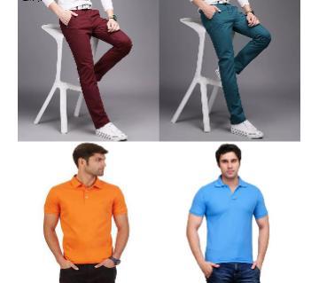 Combo Offer 2 Piece Gabardine Pant + 2 Piece Half Sleeve Cotton Polo T Shirt for Men