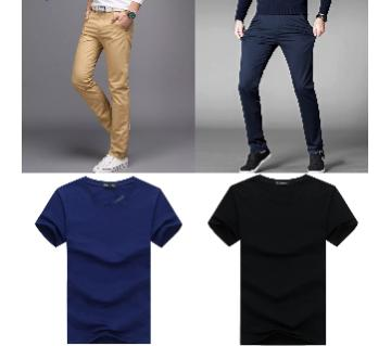 Combo Offer 2 Piece Gabardine Pant + 2 Piece Half Sleeve Cotton T Shirt For Men