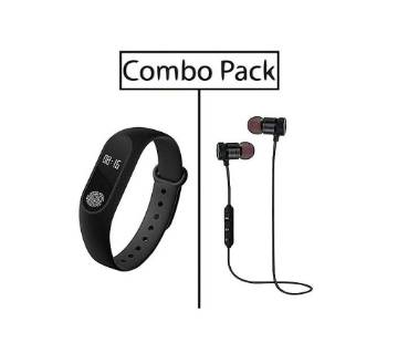 Combo of M2 Smart Fitness Band and Stereo Super Bass Wireless Earphone