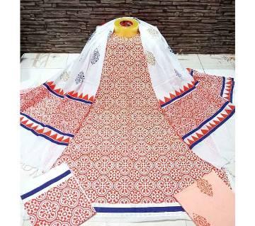 ব্লক প্রিন্টেড আনস্টিচড কটন সালওয়ার-কামিজ