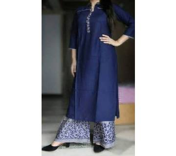 Ladies Cotton Long Kurti and plazzo