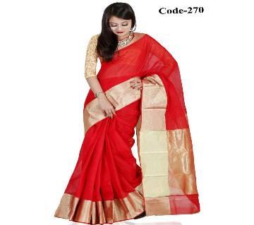 Red & Golden Half Silk Sharee