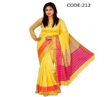 Yellow, Red & Golden Soft Silk Sharee