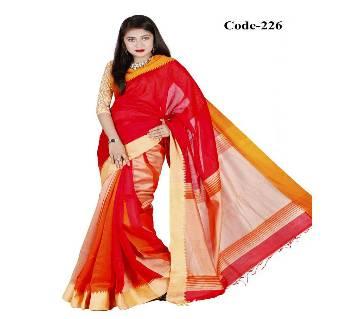Red & Orange Toshor SIlk Sharee