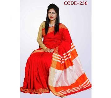 Red & White Soft Toshor Silk Sharee