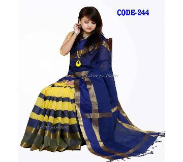 Blue & Yellow Cotton Sharee