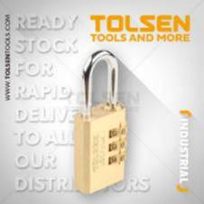 Tolsen Industrial Brass Padlock with 3 Code Wheels