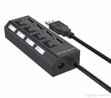 4 ports usb 2.0 hub led usb hub with switch black