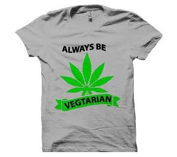 Always Be Vegtarian টেক্সট প্রিন্টেড হাফ স্লিভ টি শার্ট ফর মেন
