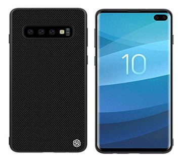 Nillkin Nylon Fiber Weave Non Slip Matte Surface Slim Hard Protective Back Cover with Wireless Charging Support for Samsung Galaxy S10 Plus (Black)