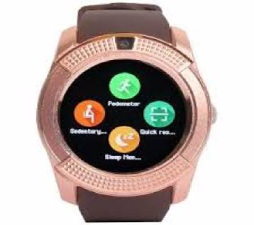 V8 Smart watch SIM Supported-Gold