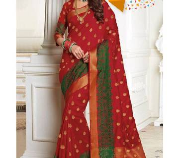 Indian Embroidery Work Silk Katan Saree