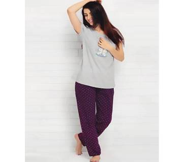 Ladies Solid Color T-Shirt + pants Combo