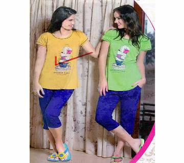 Ladies Solid Color T-Shirt + Trouser pants Combo