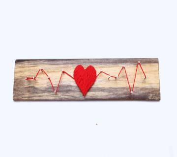Love Heart Beat on wood ভ্যালনেটাইন গিফট