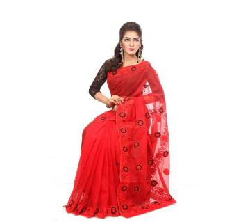Red Pure muslin silk  hand embroidery saree