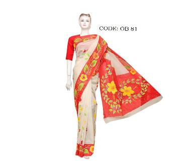 Cotton block hand paint saree