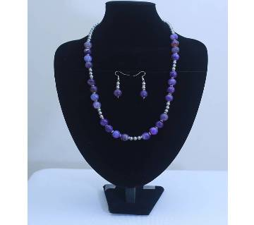 Purple Shade Stone Necklace with Earrings