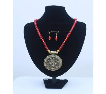 Red Beads Necklace with Earrings