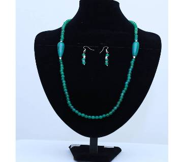 Sea Green Studded Stone Necklace with Earrings