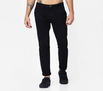 Black Color Slim Fit Chino Gabardine Pant for Men
