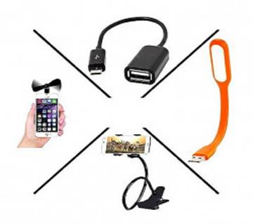Combo of Mobile Fan and USB Light and Mobile Stand and OTG Cable