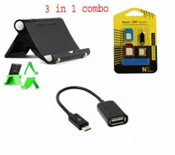 Tablet/Phone Holder+Mobile SIM Tray+OTG Cable Combo