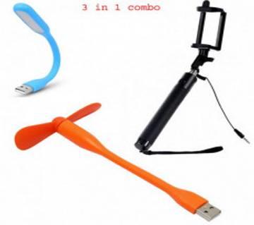USB LED Light+ Selfie Stick+ Portable Mini USB Fan Combo