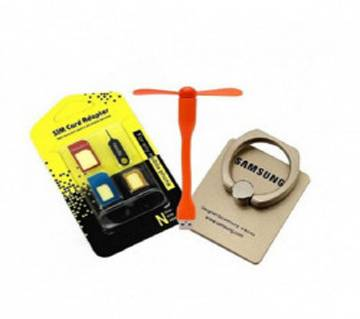 USB Fan + Mobile Ring Stand + SIM Adapter Combo