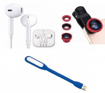Earphone+Clip-on Lens+USB LED Light Combo