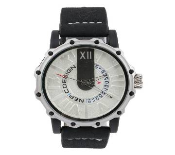 Black Leather Chronograph Watch for-Men