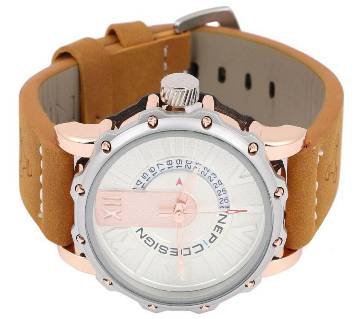 Brown Leather Chronograph Watch for-Men