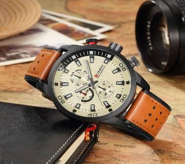 Gents Sports Leather Analog Quartz Wrist Watch
