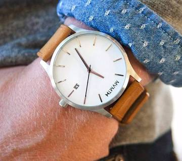 BROWN TRAP LEATHER ANALOG WRIST WATCH FOR MEN