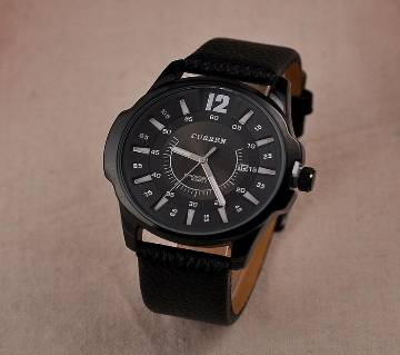 CURREN Black Leather Strap Analog Watch for Men