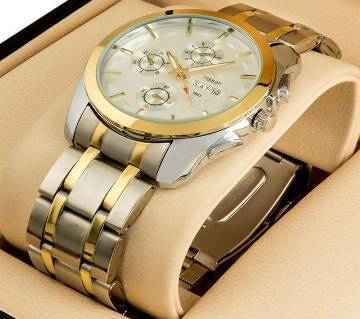 STAAINLESS STEAL CHRONOGRAPH WATCH FOR MENS-SILVER AND GOLGD