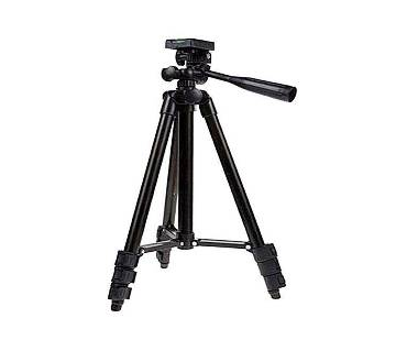 Tripod 3120 Camera Stand with Phone Holder Clip - Black