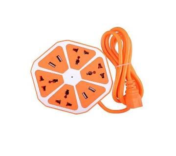 Universal 4 USB Hexagon Power Socket Extension - Orange