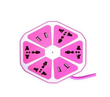 Universal 4 USB Hexagon Power Socket Extension - Hot Pink