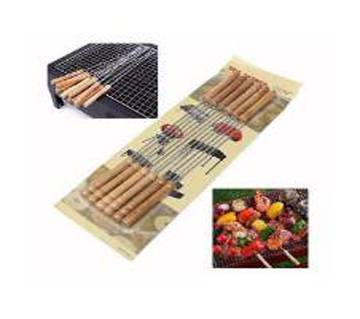 12 PC STICK FOR BBQ-WOODEN AND SILVER