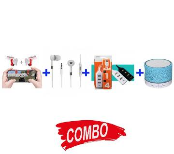 3 IN 1MOBILE ZOOM LENS + Ultra Small Bluetooth 4.0 Headset Combo Offer +4 PORT HUB WITH SWITCH+A9 Mini Wireless Bluetooth Speaker - White & BlueCombo Offer