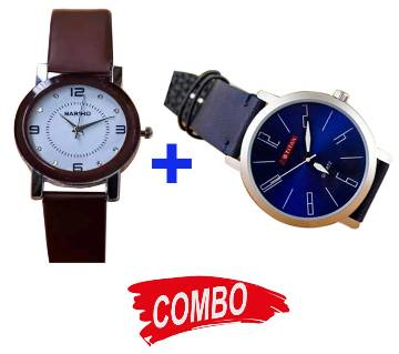 LADIES ANALOG WATCH-CHOCOLATE &WHITE+BLUE PU LEATHER ANALOG WATCH FOR MEN Combo Offer