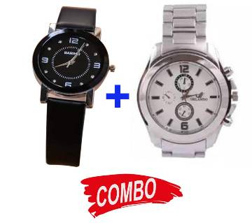 LADIES ANALOG WATCH-BLACK+ Stainless Steel analog Watch for- Men Combo Offer