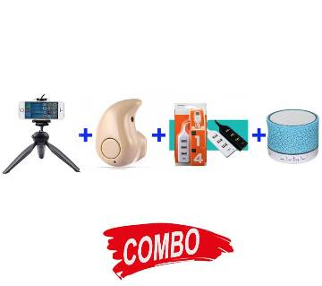 A9 Mini Wireless Bluetooth Speaker - White & Blue + WIRELESS BLUETOOTH EARPHONE +  Yunteng 228 Mini Tripod with Phone Holder Clip for Smartphone - Black+ 4 PORT HUB WITH SWITCH Combo Offer